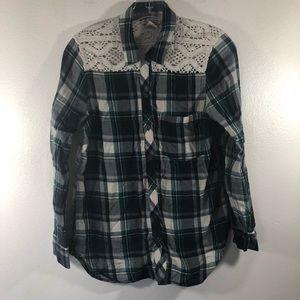 Lucky Brand GreenBlue Plaid Shirt With Crochet
